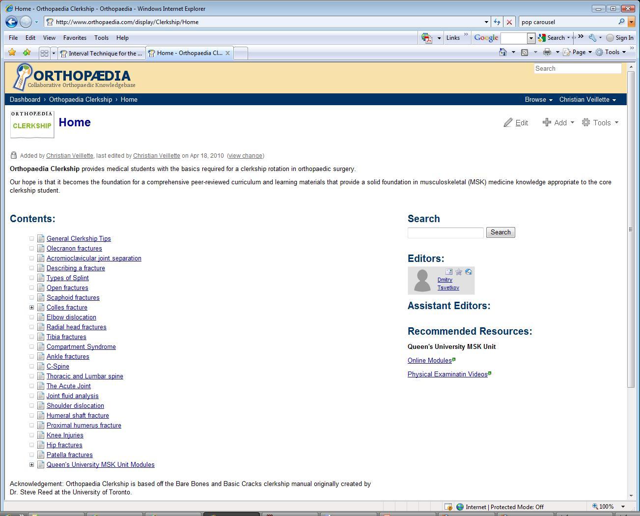 OrthopaedicsOne Clerkship - Orthopaedic Basics for Medical Students