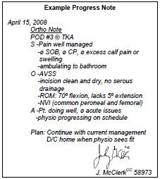 Daily Progress Note Pod Orthopaedicsone Clerkship